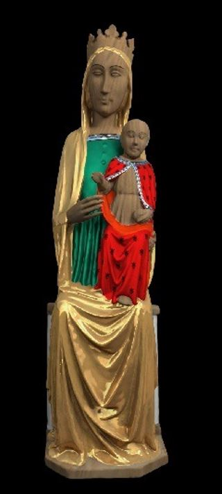 colour rendered reconstruction of the Madonna and Child sculpture: the Madonna's robe is gold and green and the Christ Child's cloak is red with a black pattern.