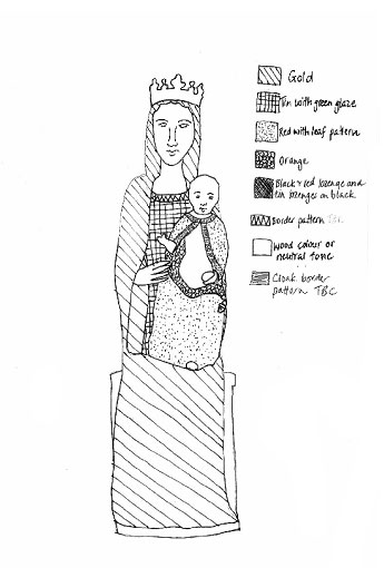 Schematic drawing of the Madonna and Child, showing the different areas of colour and pattern.