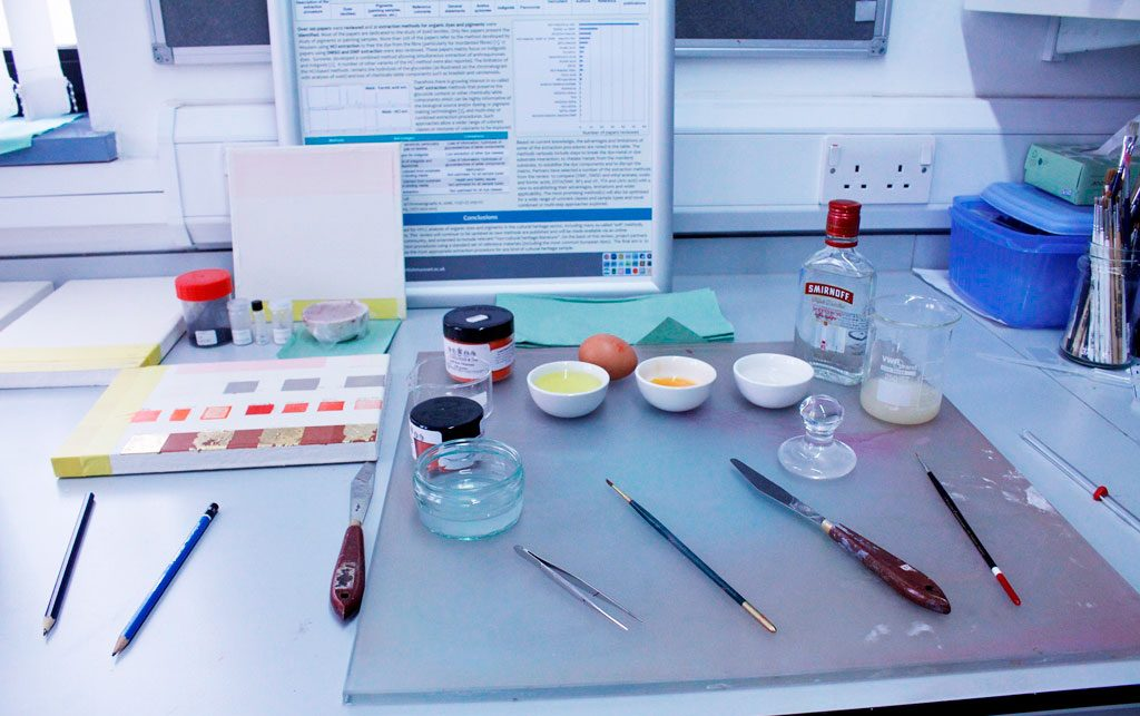 Tools required for mixing egg tempera paint., including brushes, eggs, paint and vodka