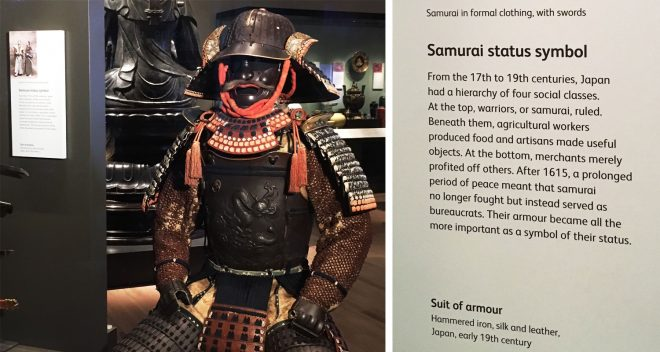 Samurai uniform on display in the Exploring East Asia gallery at the National Museum of Scotland