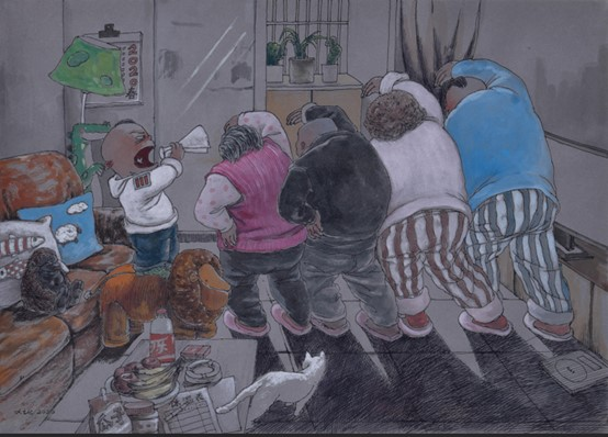 Humorous illustration of a family in their living room doing exercises together.
