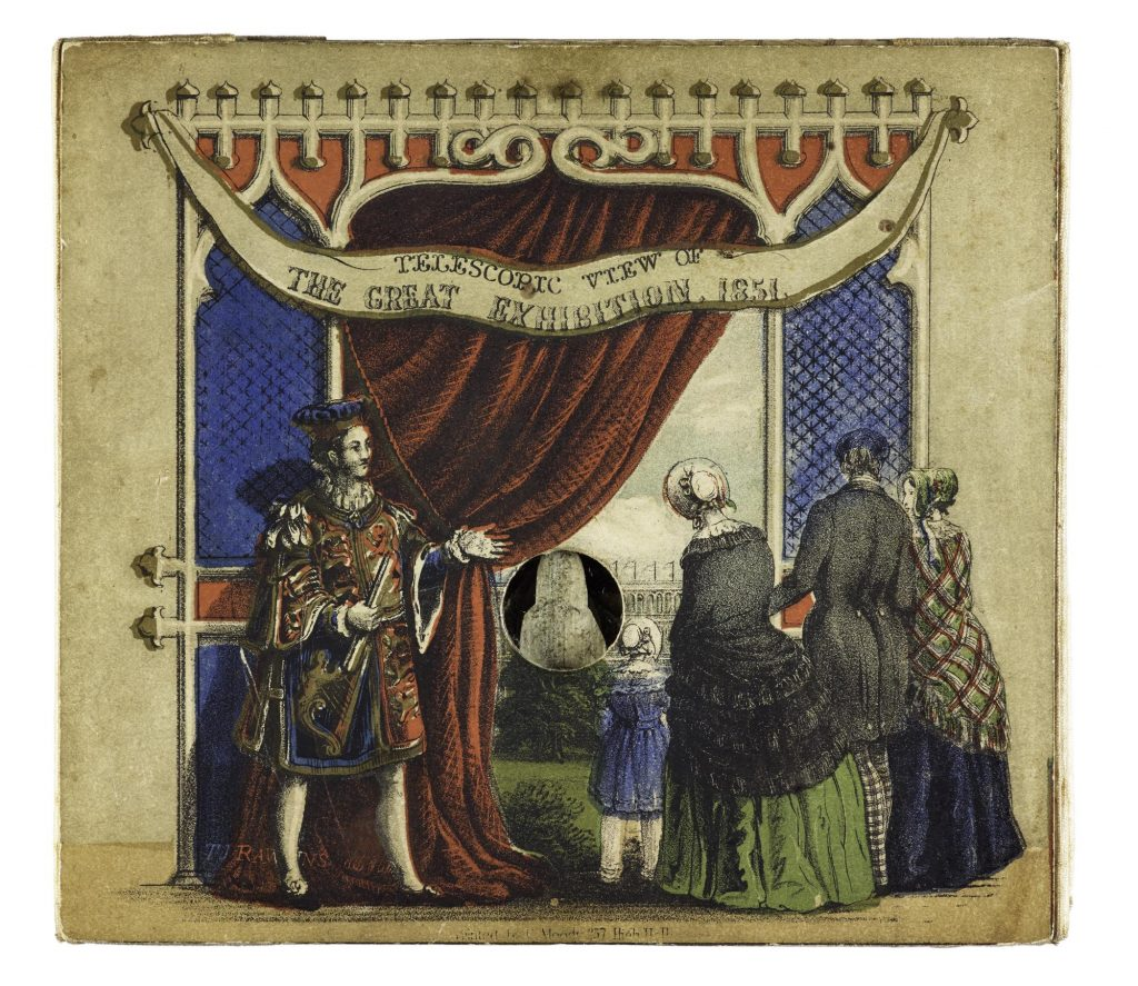 A man dressed in a Royal Standard-inspired outfit pulls back a curtain and invites a family to look into a peep hole. 'Telescopic view of The Great Exhibition, 1851'