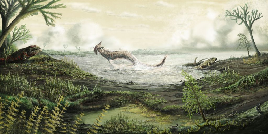 Painting of a Carboniferous landscape with green plants and a sea. A large fish leaps out the water.