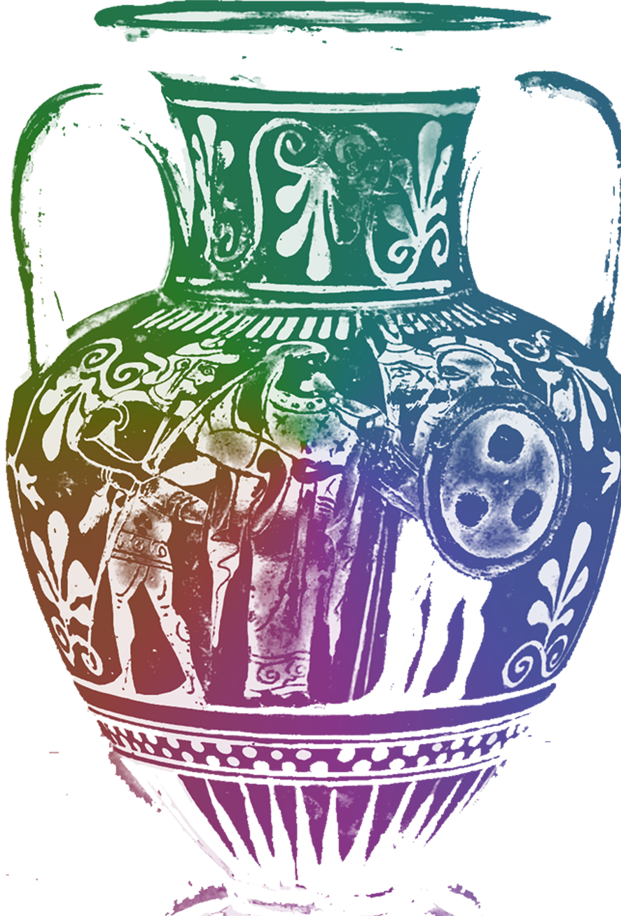 Sketchy and rainbow colourised image of a Greek amphora.