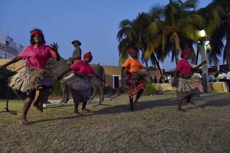 A group of women dancing in front of palm trees with a dark evening sky behind.