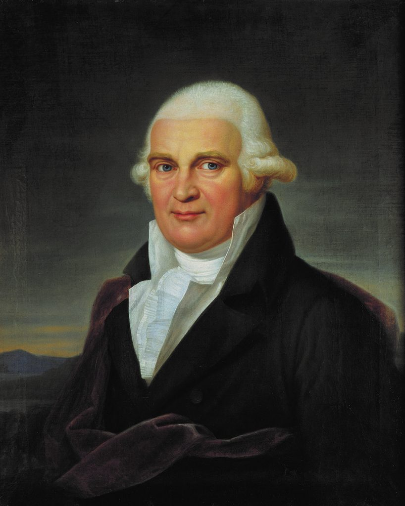 Painting of a man with a white wig.