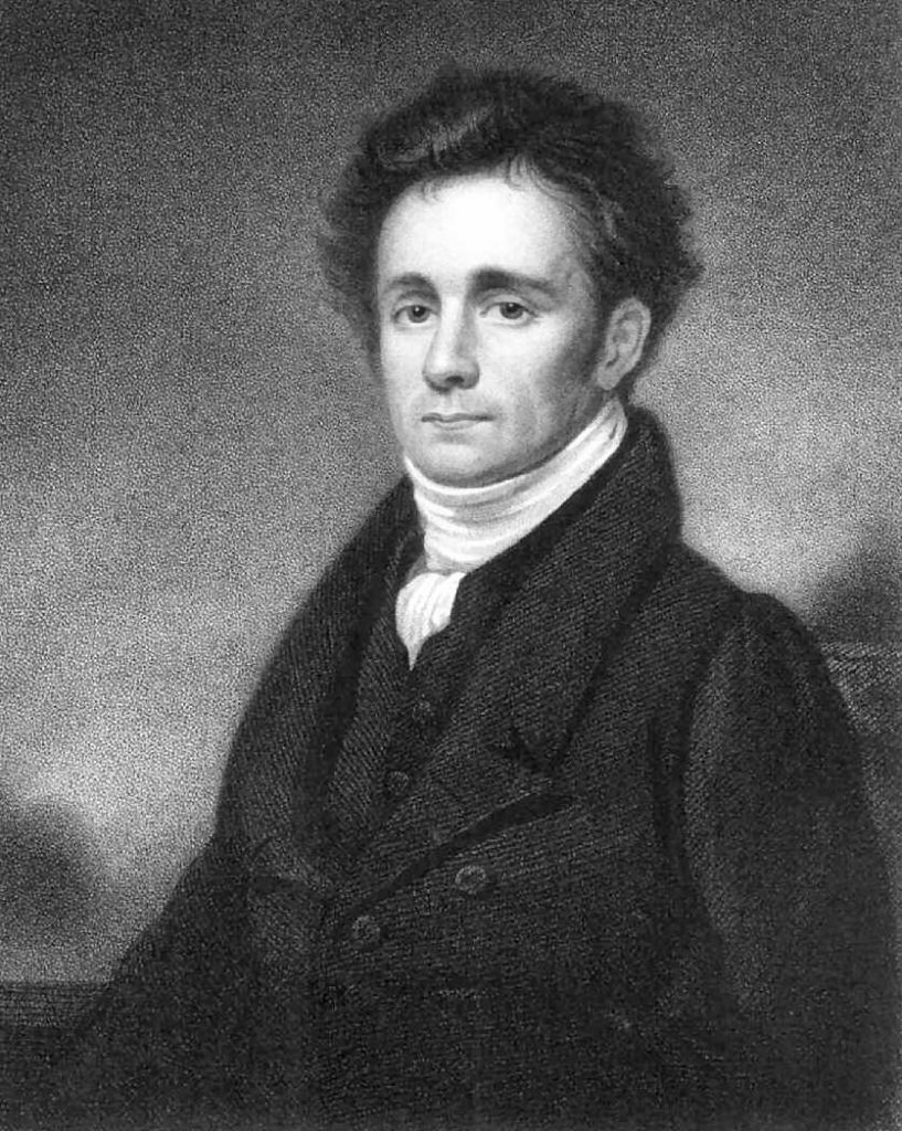 Black and white photo of a painting of a man.