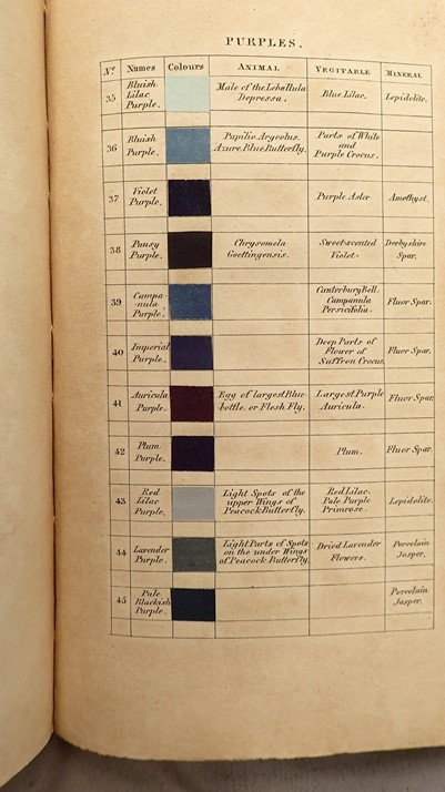 Photo of the page of a book showing colour swatches with descriptions written on them like 'bluish purple' and 'violet purple'.