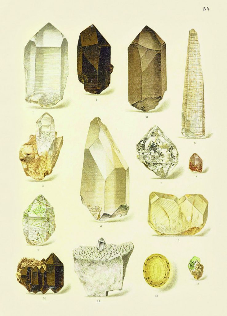 Page of illustrated minerals from a book.