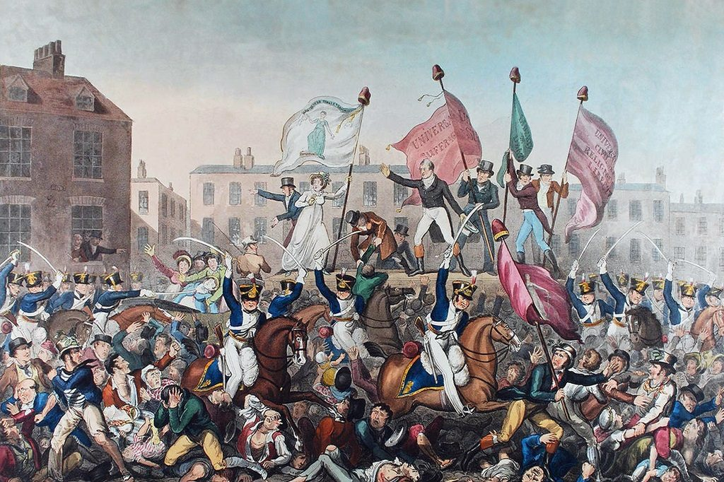 Painting of a chaotic scene in a city square. Mounted officers swing swords at panicked civilians, while revolutionaries wave flags on a raised plinth.