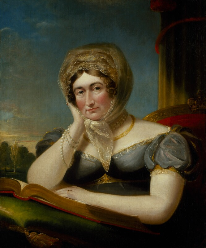 Woman seated at an open book wearing a large headdress, one hand against her cheek as though bored or tired.
