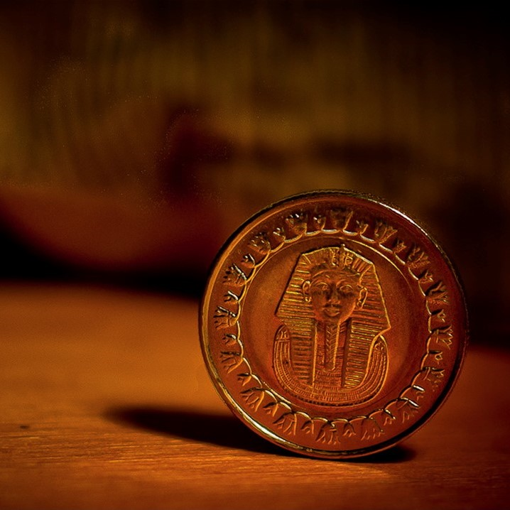 A small brownish-red coin with a pharaoh in the centre set on a wooden table.
